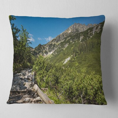 Tourist Trail in High Mountains Landscape Printed Pillow Size: 26 x 26, Product Type: Euro Pillow