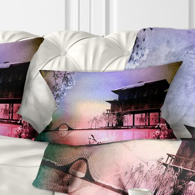Rural Landscape with Flowers Painting Pillow Size: 12 x 20, Product Type: Lumbar Pillow