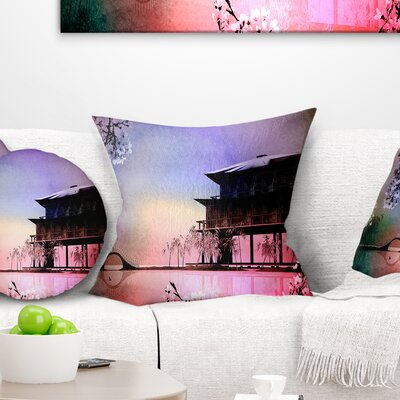 Rural Landscape with Flowers Painting Pillow Size: 16 x 16, Product Type: Throw Pillow