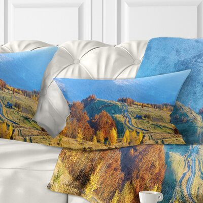 Rural Road on Autumn Mountains Landscape Printed Pillow Size: 12