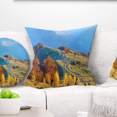 Rural Road on Autumn Mountains Landscape Printed Pillow Size: 16 x 16, Product Type: Throw Pillow