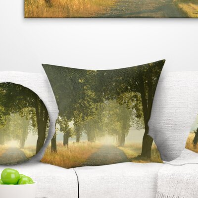 Rural Road Under Big Trees Landscape Photography Pillow Size: 26