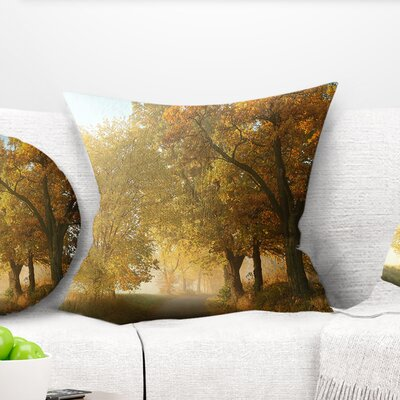 Rural Road Under Trees Landscape Photography Pillow Size: 16 x 16, Product Type: Throw Pillow