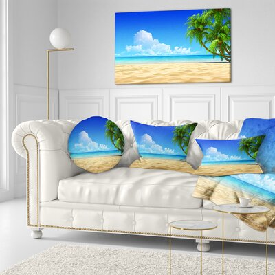 Coconut Palms Bent into Beach Seashore Throw Pillow Size: 16 x 16