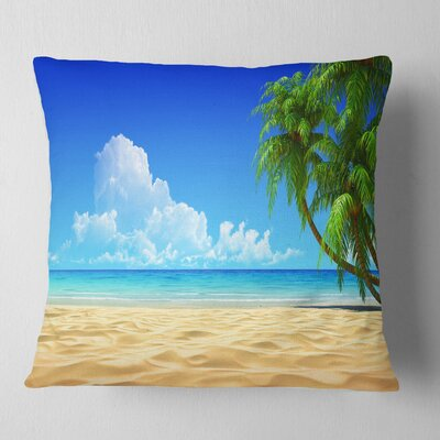Coconut Palms Bent into Beach Seashore Pillow Size: 26 x 26, Product Type: Euro Pillow