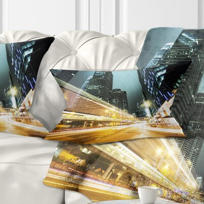 Traffic in Hong Kong at Night Cityscape Pillow Size: 12 x 20, Product Type: Lumbar Pillow