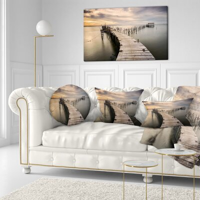 Carrasqueira Old Wooden Pier Seashore Photo Throw Pillow Size: 16 x 16