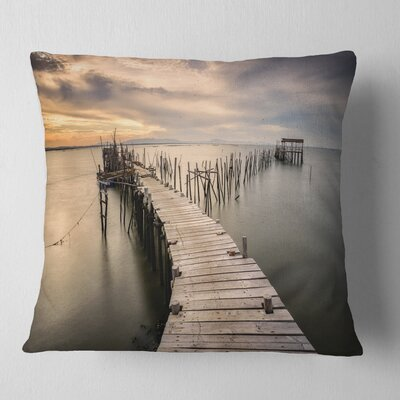 Carrasqueira Old Wooden Pier Seashore Photo Pillow Size: 16 x 16, Product Type: Throw Pillow