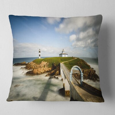 Cloudy Illa Pancha Lighthouse Seashore Photo Pillow Size: 26 x 26, Product Type: Euro Pillow