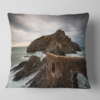 Cape and Chapel in Spanish Beach Seashore Photo Pillow Size: 18 x 18, Product Type: Throw Pillow