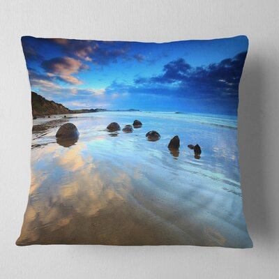 Cloudy Sky over Moeraki Boulders Seashore Photo Pillow Size: 16 x 16, Product Type: Throw Pillow