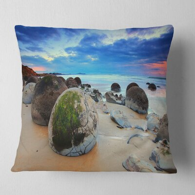 Cloudy Sunrise over Moeraki Boulders Seashore Photo Pillow Size: 16 x 16, Product Type: Throw Pillow