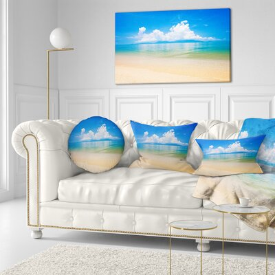 Cloudy Horizon over Sea Seashore Photo Throw Pillow Size: 20 x 20