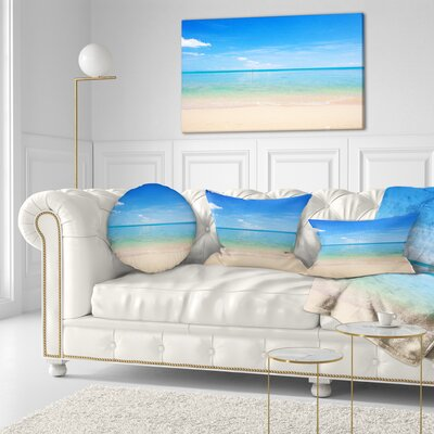 Calm Waves at Tropical Beach Seashore Photo Throw Pillow Size: 16 x 16