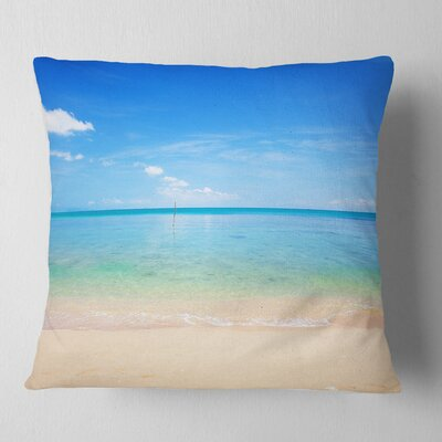 Calm Waves at Tropical Beach Seashore Photo Pillow Size: 18 x 18, Product Type: Throw Pillow