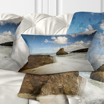Rushing Waters Into Rocky Mountains Seashore Photo Pillow Size: 12 x 20, Product Type: Lumbar Pillow