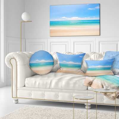 Cloudy Horizon over Beach Seashore Photo Throw Pillow Size: 16 x 16