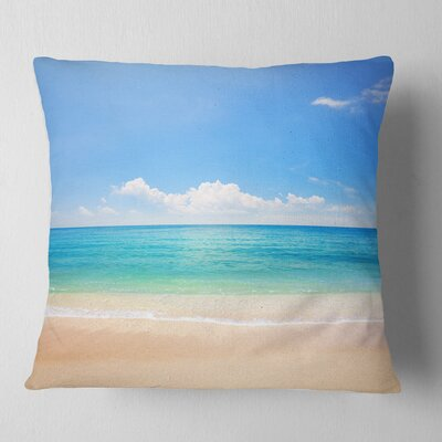 Cloudy Horizon over Beach Seashore Photo Pillow Size: 26 x 26, Product Type: Euro Pillow