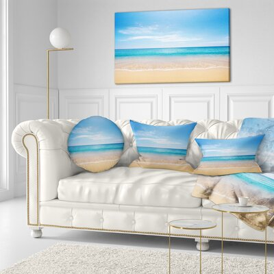 Calm Sea and Sky Seashore Photography Throw Pillow Size: 20 x 20