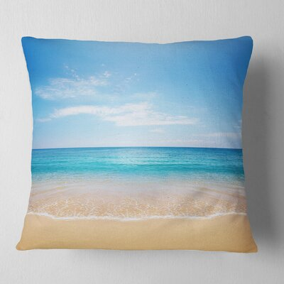 Calm Sea and Sky Seashore Photography Pillow Size: 18 x 18, Product Type: Throw Pillow