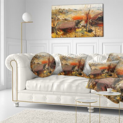 Roofs Heavily Textured Landscape Painting Throw Pillow Size: 20 x 20