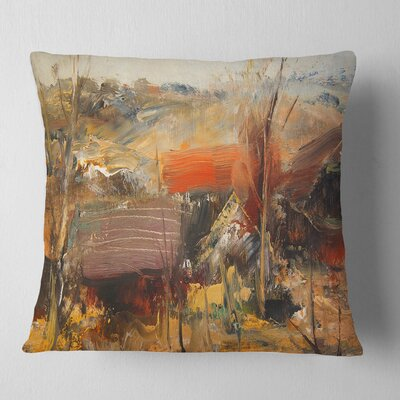 Roofs Heavily Textured Landscape Painting Pillow Size: 18 x 18, Product Type: Throw Pillow