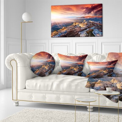 Autumn Sky and Mountains Landscape Photography Throw Pillow Size: 20 x 20