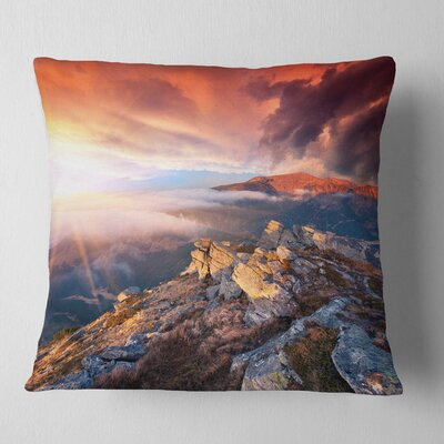 Autumn Sky and Mountains Landscape Photography Pillow Size: 18 x 18, Product Type: Throw Pillow