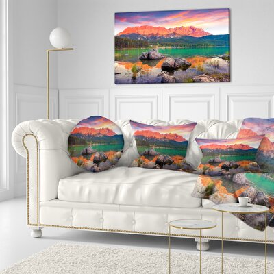 Eibsee Lake Sunset Landscape Photo Throw Pillow Size: 16 x 16