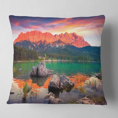 Eibsee Lake Sunset Landscape Photo Pillow Size: 18 x 18, Product Type: Throw Pillow