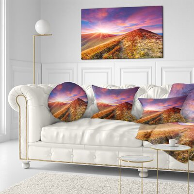 Grass and Clouds Landscape Photography Throw Pillow Size: 16 x 16