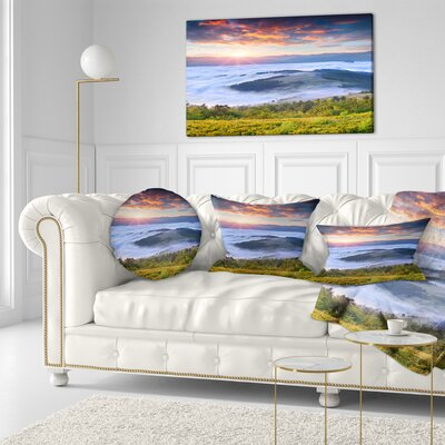 Sunrise over Foggy Waters Landscape Photography Throw Pillow Size: 16 x 16