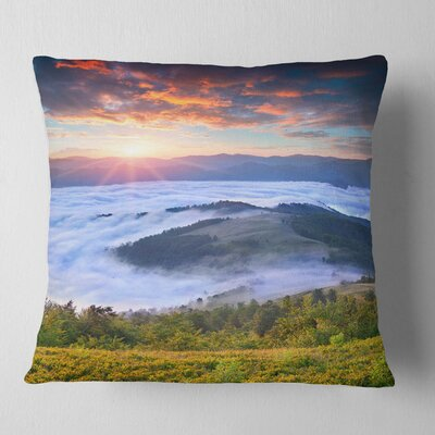 Sunrise over Foggy Waters Landscape Photography Pillow Size: 18 x 18, Product Type: Throw Pillow