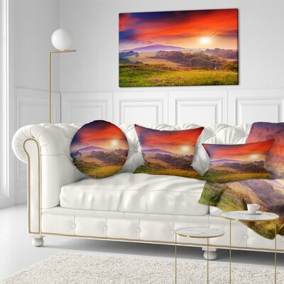 Cold Morning Fog with Hot Sun Landscape Photography Throw Pillow Size: 16 x 16