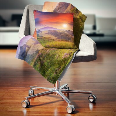Cold Morning Fog with Hot Sun Landscape Photography Pillow Size: 26 x 26, Product Type: Euro Pillow
