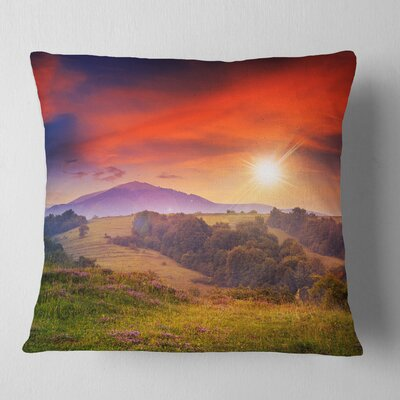 Cold Morning Fog with Hot Sun Landscape Photography Pillow Size: 16 x 16, Product Type: Throw Pillow