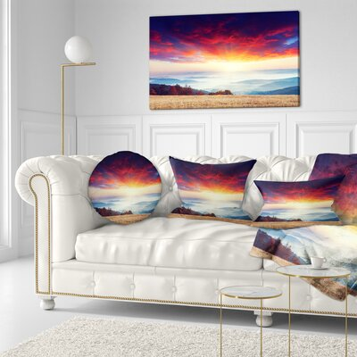 Clouds and Foggy Hills Landscape Photo Throw Pillow Size: 16 x 16