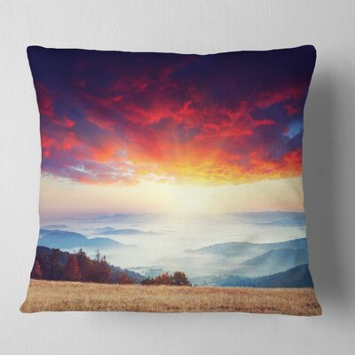 Clouds and Foggy Hills Landscape Photo Pillow Size: 26 x 26, Product Type: Euro Pillow