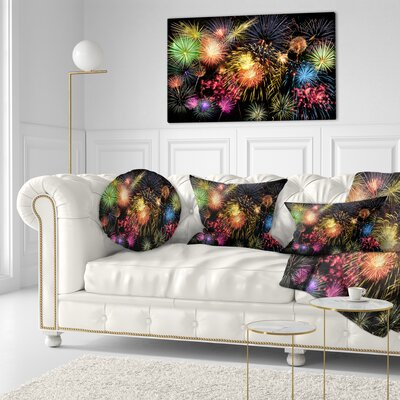 Fireworks at Night Sky Skyline Photography Throw Pillow Size: 16 x 16