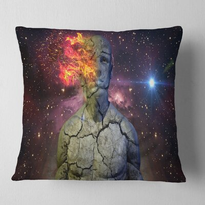 Broken Human Body with Fire Contemporary Pillow Size: 26 x 26, Product Type: Euro Pillow