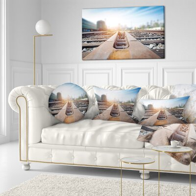 Cargo Train Platform with Container Landscape Photography Throw Pillow Size: 20 x 20