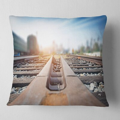 Cargo Train Platform with Container Landscape Photography Pillow Size: 16 x 16, Product Type: Throw Pillow