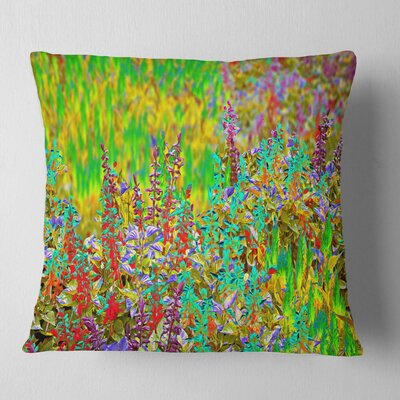 Textured Flowerbed Floral Pillow Size: 16 x 16, Product Type: Throw Pillow