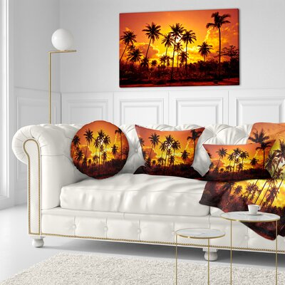 Coconut Palms Against Sky Landscape Photography Throw Pillow Size: 20 x 20