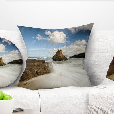 Rushing Waters Into Rocky Mountains Seashore Photo Pillow Size: 18