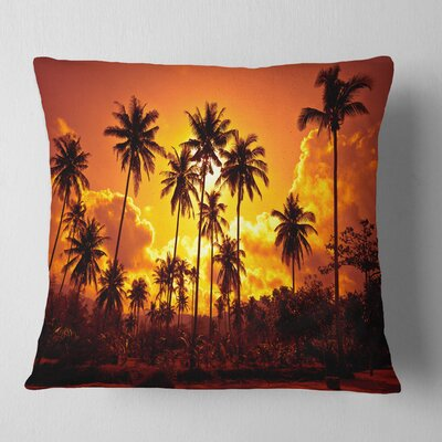 Coconut Palms Against Sky Landscape Photography Pillow Size: 16 x 16, Product Type: Throw Pillow