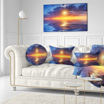 Cloudy Sunset Reflection in Lake Cityscape Throw Pillow Size: 20 x 20
