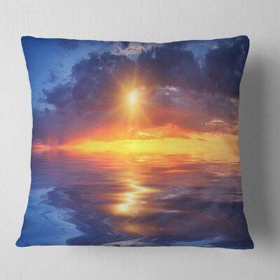 Cloudy Sunset Reflection in Lake Cityscape Pillow Size: 18 x 18, Product Type: Throw Pillow