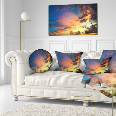 Cloudy Sky at Sunset Panorama Skyline Photography Throw Pillow Size: 16 x 16