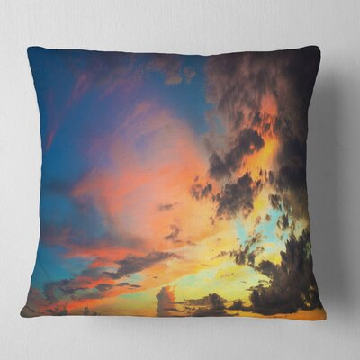 Cloudy Sky at Sunset Panorama Skyline Photography Pillow Size: 16 x 16, Product Type: Throw Pillow